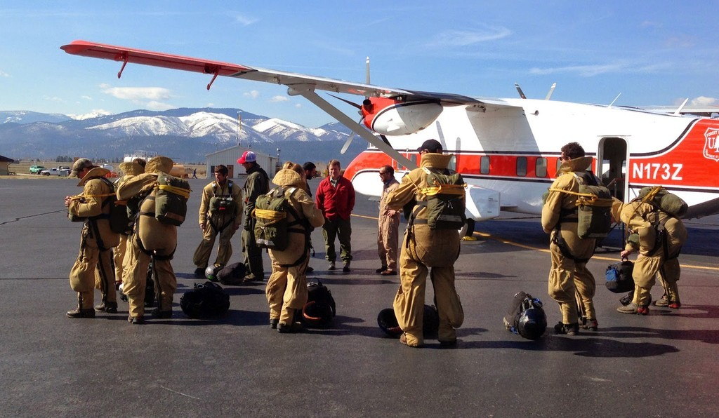 Fores Service smokejumpers in Missoula, Montana, training for the 2014 wildfire season.