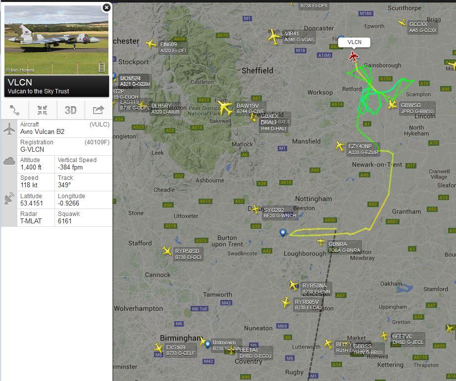 Vulcan inbound Doncaster