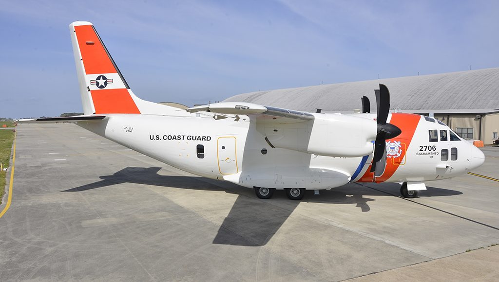 A C-27J Medium Range Surveillance airplane sits on the runway at Coast Guard Aviation Logistics Center in Elizabeth City, North Carolina, Thursday, March 31, 2016. The C-27J is the newest Coast Guard aircraft to join the fleet and will be used in maritime patrol, drug and migrant interdiction, disaster response, and search and rescue missions. U.S. Coast Guard photograph by Petty Officer 3rd Class Joshua L. Canup